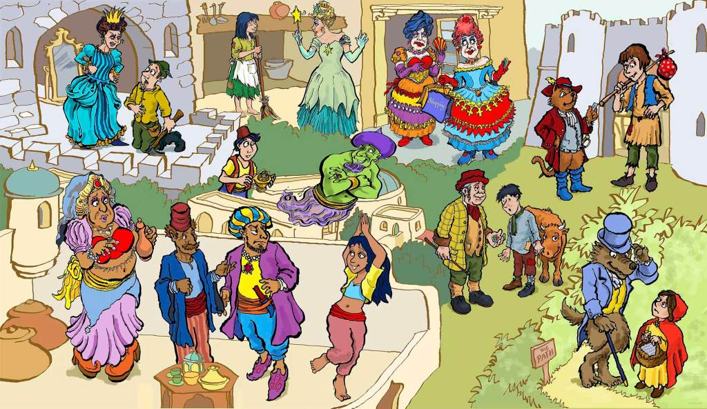 Ensemble of pantomime characters, an 8 foot tall graphic panel in the Panto! exhibition at The Forum, Norwich