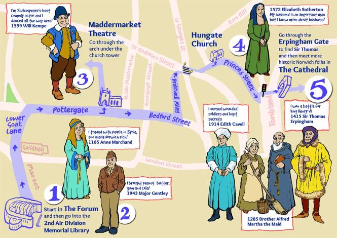 Norwich-Heritage-Hunt-map-guide-by-Jim-Kavanagh